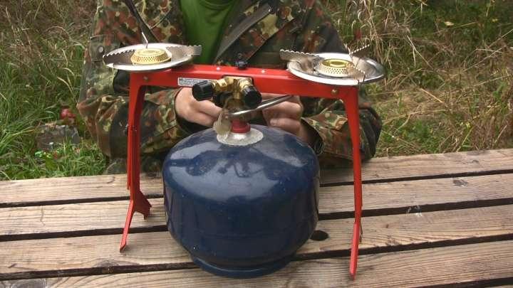 turystyczna kuchenka na dużą butlę 2-palnikowa
